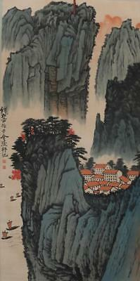 """Chinese Old Qian Songyan Scroll Painting Scroll Landscape 72.83"""""""