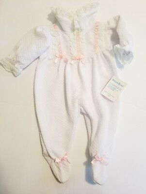 Vintage Baby Girl Layette swan knit white quilted sleeper pink lace 3-6 months