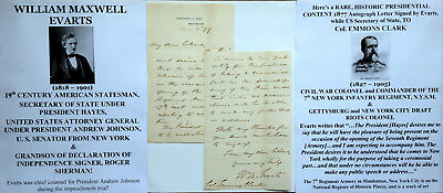Civil War Era Attorney General President Hayes Secy State Senator Letter Signed!