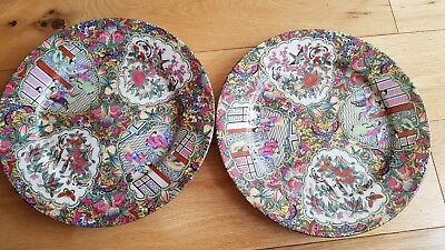 Two Antique famille rose Chinese porcelain plates