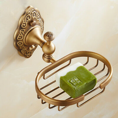 Bathroom Brass Bath Soap Dish Basket Storage Shelf Holder Wall Mount Hanger L69