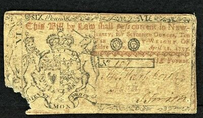 New Jersey April 12, 1757 £6  Rare Green Back  Note Fr# NJ-104