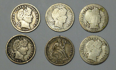 Lot of 1910 D, 1910, 1910, 1910, 1901 Barber Dimes w 1876 Seated Liberty