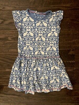 Mini Boden Girls 5/6 Blue Bunny Dress Tag Missing