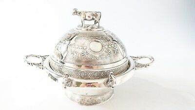 Antique Figural Cow Silver Plate Butter Dish Dome Simpson Hall Miller 1800s