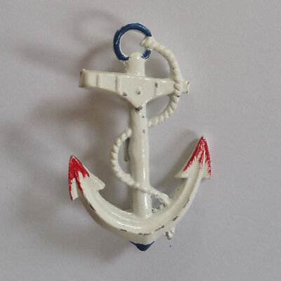 Vintage Nautical Anchor Sailor Brooch Blue Old Rockabilly Pin White