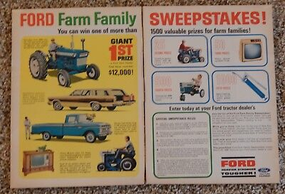 1966 Ford Family ad tractor pickup wagon Philco sweepstakes 2 pg 11x17