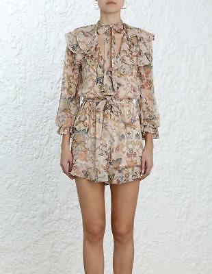 27041e793c NWT AUTH ZIMMERMANN Silk Painted Heart Cascade Playsuit 0 1 2 ...