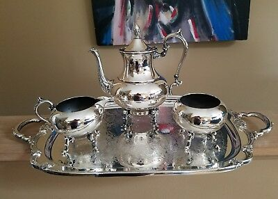 VTG silver plated Rogers Bros 1847 remembrance Tray & PS footed teaset