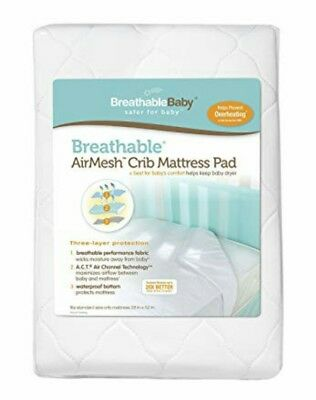 Breathable Baby AirMesh Crib Mattress Pad White Waterproof Prevents Overheating