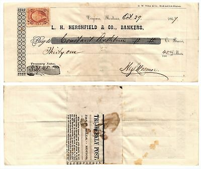 Vtg 1867 $31.45 Old Check L H Hershfield & Co Banker Virginia, Montana USED