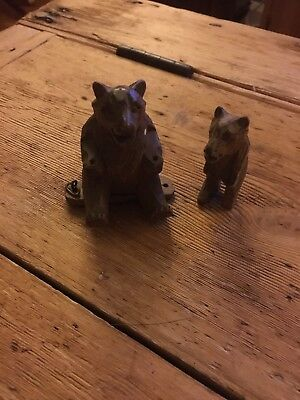 Two Carved Black Forest Bears circa 1900s
