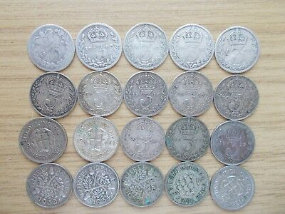 20 Silver Three Pences - All Different Dates
