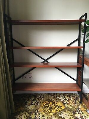 Vintage 1960s Teak & Black Wire Metal Book Shelves Display Shelving Ladderax