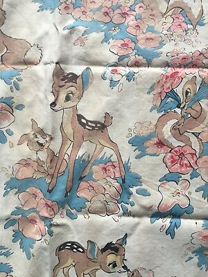 Beautiful Vintage French Disney Bambi fabric curtains 1940