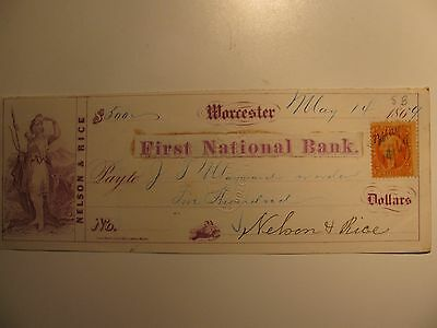1869 FIRST NATIONAL BANK WORCESTER MA & 2¢ BANK CHECK Signed by Nelson & Rice
