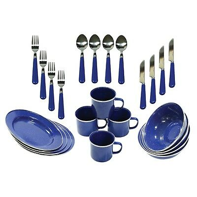 Stansport 11220 24-Piece Enamel Camping Tableware Set