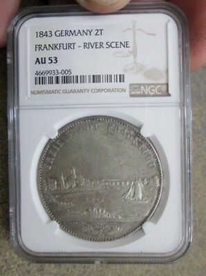 1843 German States Frankfurt River Scene Two Thaler Silver Coin NGC AU 53 No Res