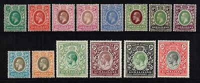Somaliland 1921 King George V set to 5r., MH (SG#73/85)
