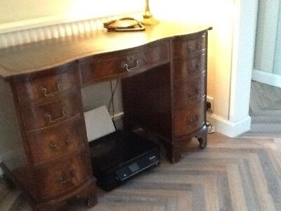 Large Wooden Desk With Green Leather Inlay Top