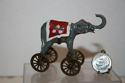 Miniature Dollhouse Cast Metal Childs Toy Circus Elephant on Wheels Vintage OLD?
