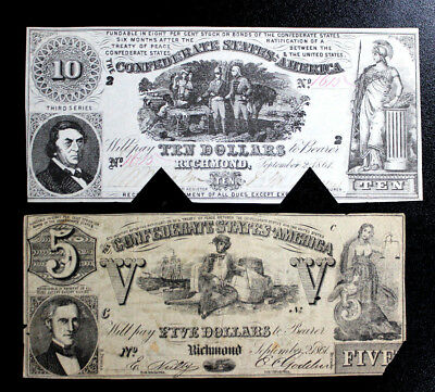 Clearance (2) T-30 $10 T-37  Confederate States Of America   Coc/tear Two Notes