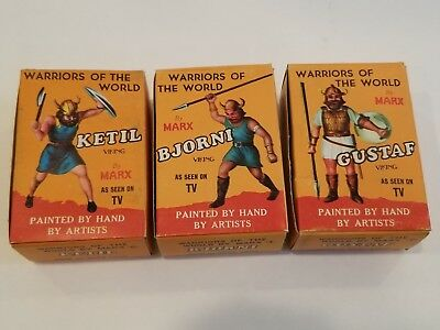 Marx Warriors Of The World 3 Viking Figures, in Box with Cards Great Cond