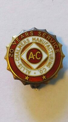Vintage AC Allis Chalmers Manufacturing Co 20 year Service Pin 10K GF Enamel red
