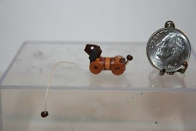 Miniature Dollhouse Artisan Childs ADORABLE Wood Dachsund Dog Pull Toy 1:12 1:24