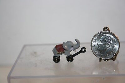 Miniature Dollhouse Childs Pull Toy Circus Elephant Handpainted Metal 1:12 1:24
