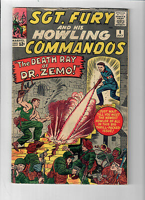 """SGT. FURY #8 - Grade 5.0 - """"The Death Ray of Dr. Zemo!"""" Jack Kirby!"""