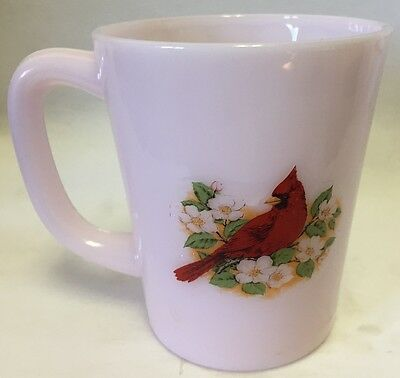 Mug w/ Cardinal Red Bird - Crown Tuscan Pink Glass - Rosso Exclusive USA