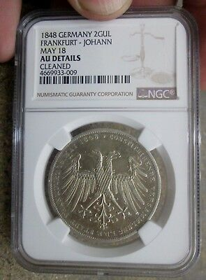 1848 German States Frankfurt Two Gulden Silver Coin NGC AU Details Cleaned NR