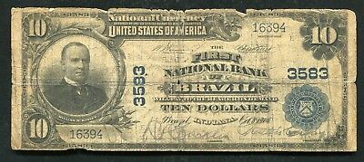 1902 $10 The First National Bank Of Brazil, In National Currency Ch. #3583