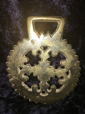 Antique Horse Brass Harness Medallion Draft Tack Ornament:  Geometric design