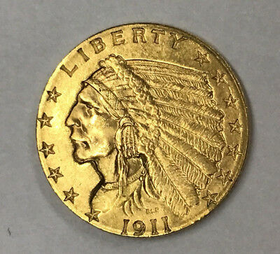 1911 $2-1/2 Indian Gold Coin - Almost Uncirculated Coin - From Estate Sale