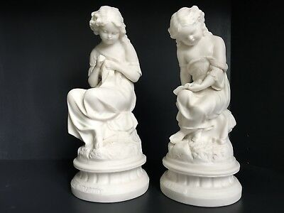 Rare Pair of Beautiful Antique Bisque Porcelain Figurines Industry and Idleness