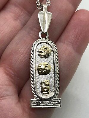 Egyptian Cartouche Pendant Charm Sterling Silver D-676