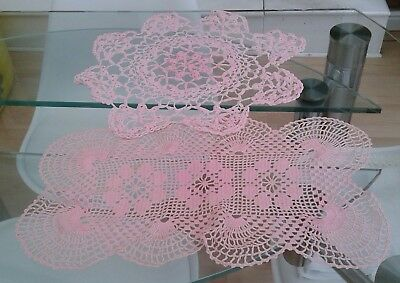 2 Large Vintage Pink Hand Crocheted Cotton Doilies / Table Mats