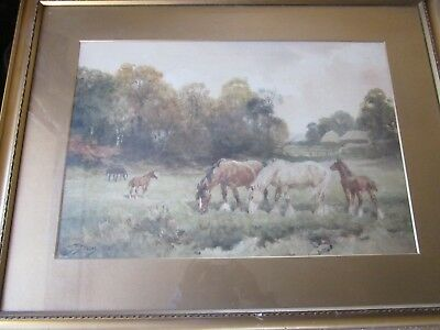 Antique WALTER SYDNEY STACEY Listed Mares & Foals Watercolour Painting Framed