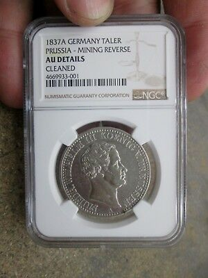 1837- A German States Prussia One Thaler Silver Coin NGC AU Details Cleaned NR