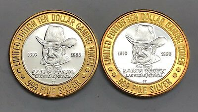 2 Limited Edition Ten Dollar Gaming Tokens Sam's Town Las Vegas .999 Fine Silver