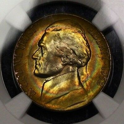 NGC MS65 1952 P Jefferson Nickel 5c True Rainbow Target Toned Vivid Color PQ MS