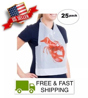 Lobster Bibs - Plastic Bib, Disposable, High Quality Royal Paper Brand, 25 Count