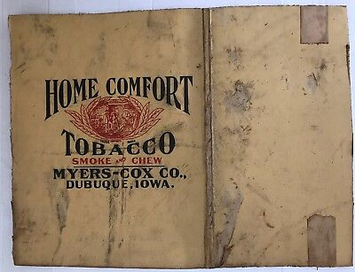 Antique MYERS-COX Dubuque-Chewing Tobacco Sign On Light Board-Home Comfort