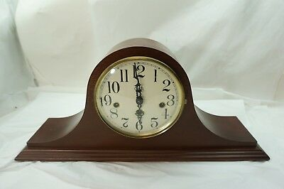 SLIGH CLOCK TAMBOUR WESTMINSTER CHIME 8 DAY HERMLE 340-020 RUNS WIND UP KEY d