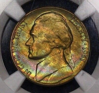 NGC MS66 1951 D Jefferson Nickel 5c True Rainbow Toning Gorgeous Color PQ MS 66