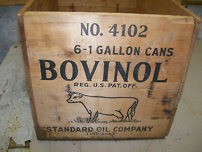 1920`s 30`s standard oil company indiana bovinol wood box crate for 6 gal cans
