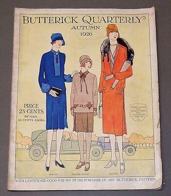 Rare Paris fashion BUTTERICK QUARTERLY Autumn 1926 pattern book flapper catalog