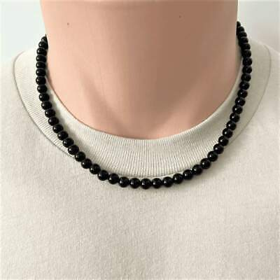 Mens Black Onyx Beaded Long and Short 6mm Necklaces